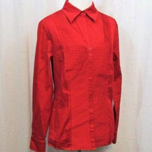Worthington Red Pleated Long Sleeve Top 10